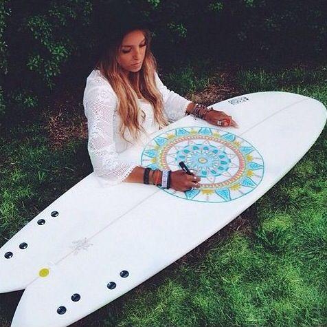 Surf girl... board art...