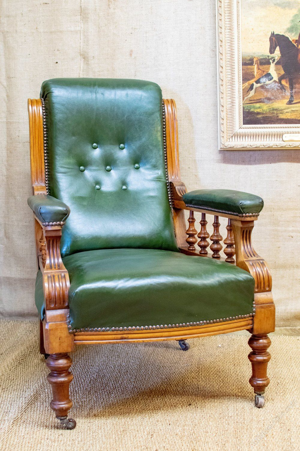 Victorian Armchair Green Leather Button Back Antiques Atlas Antique Desk Chair Antique Rocking Chairs Dining Room Chairs Modern