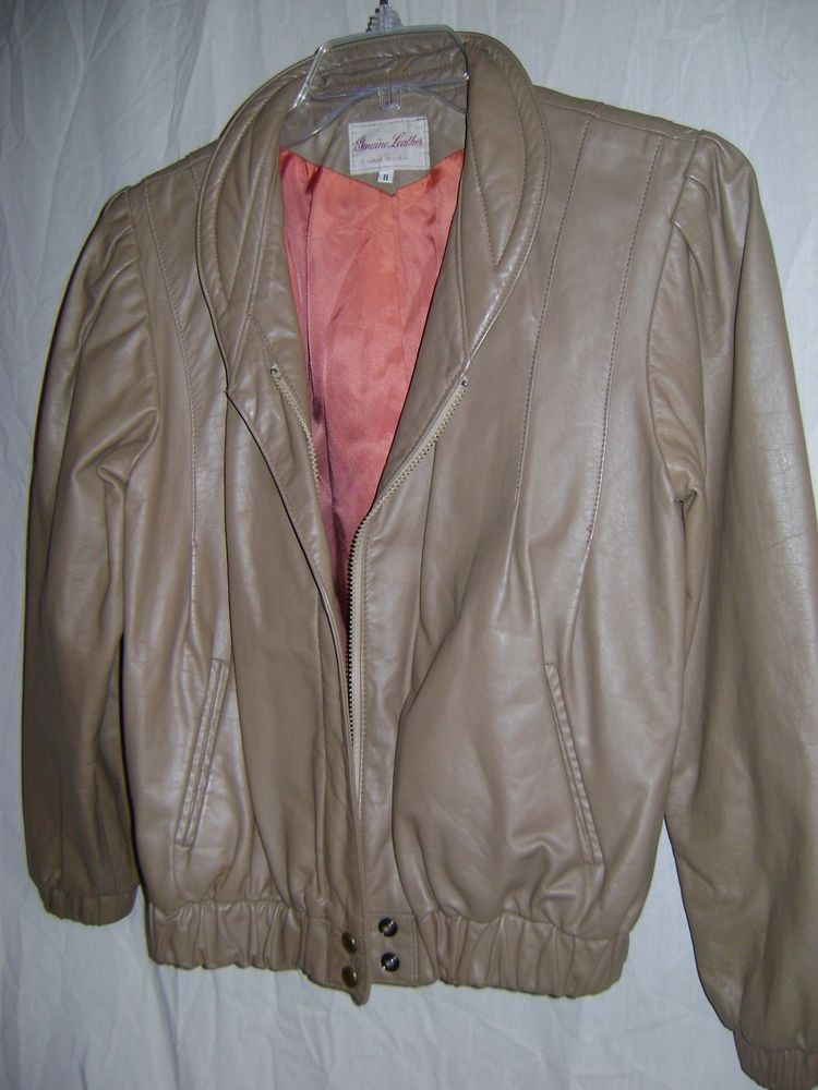 Vintage/new Genuine leather dark beige jacket fully lined 8 LADIES mint cond. #Jacket #Fashion #Deal