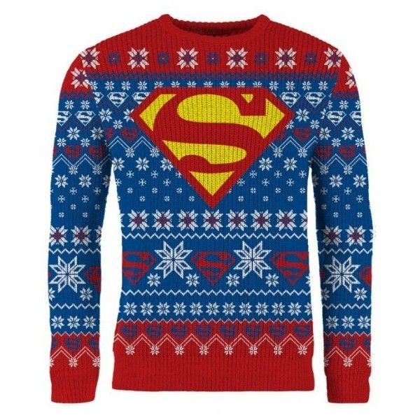 superman kryptonian christmas knitted sweater jumper 91 bam a liked on polyvore featuring tops sweaters christmas sweaters blue christmas swea