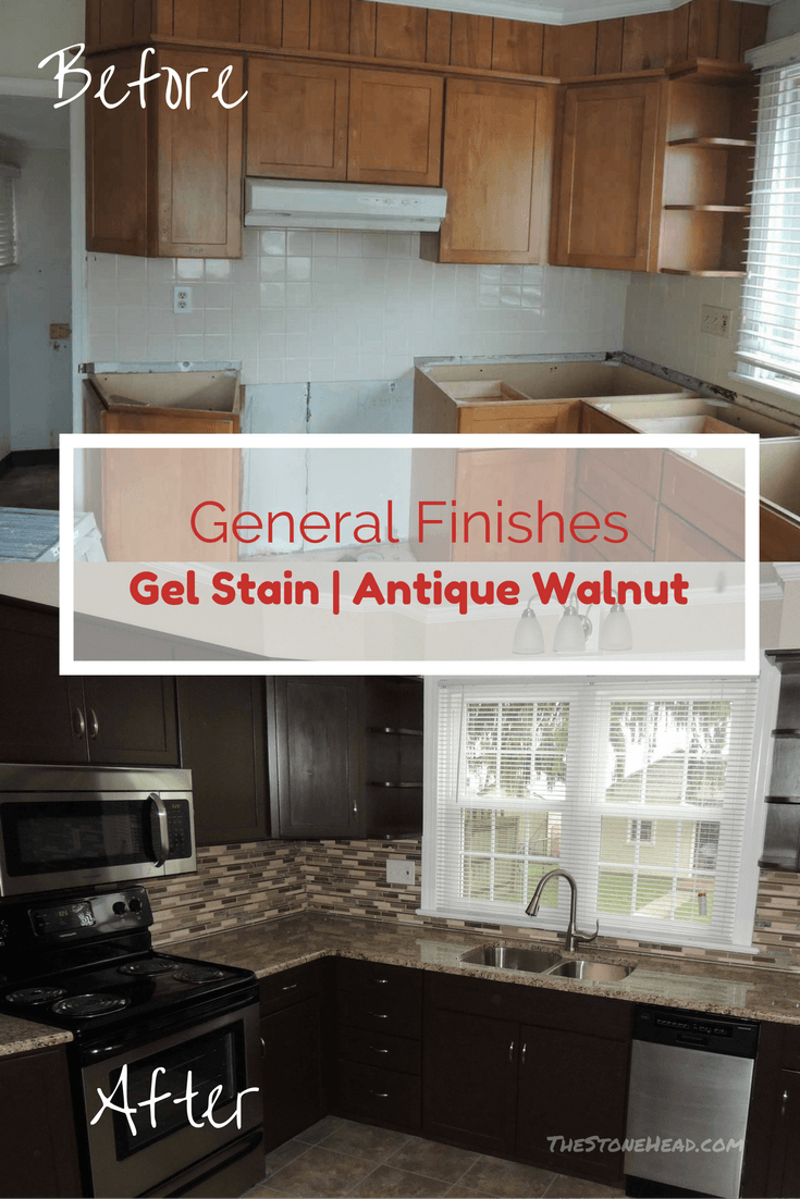 Elegant Gel Stain Cabinets before and after