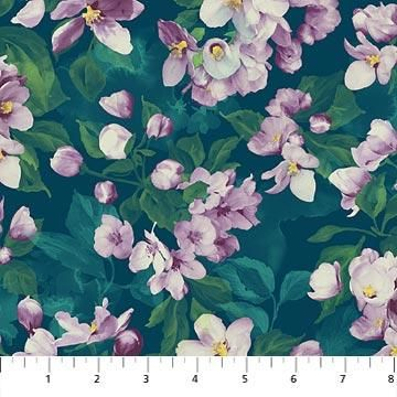 Flower Fabric Northcott Mystic Garden Cherry Blossom 5180 With