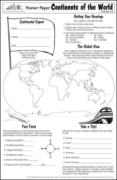 Continents Of The World Poster Paper 031917 Details Geography Lessons 6th Grade Social Studies Social Studies Maps 6th grade geography worksheet