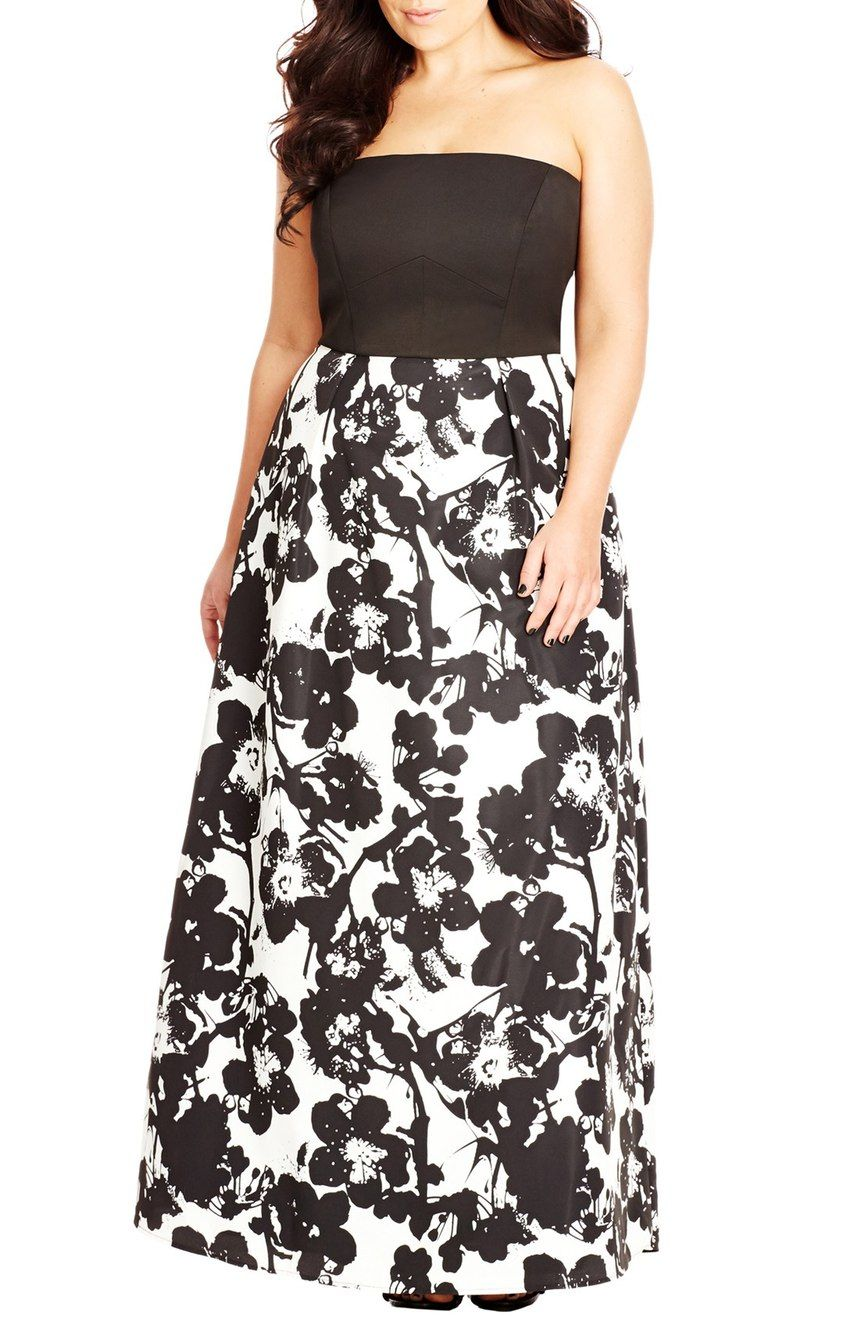 Painted Poppy Strapless Maxi Dress