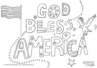 God Bless America Colouring Page Little Ladies And Gentlemen