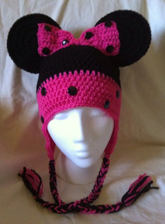 Minnie Mouse Crochet Hat with ear flaps ages 3 to 10  8d9cec1feda