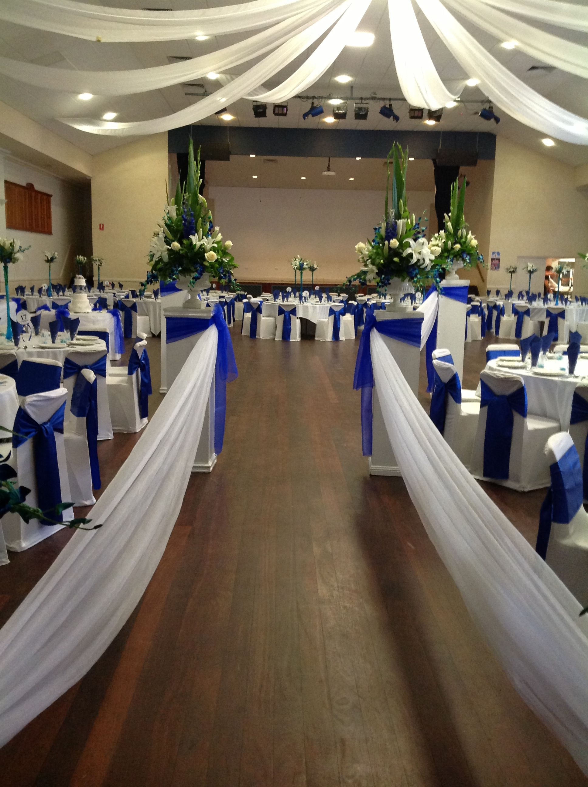 Blue Themed Wedding Reception With Ceiling Swag Decoration Www