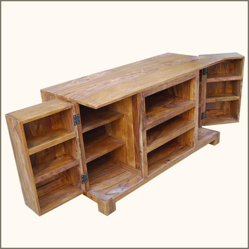 Unique solid Wood Media Storage Cabinet