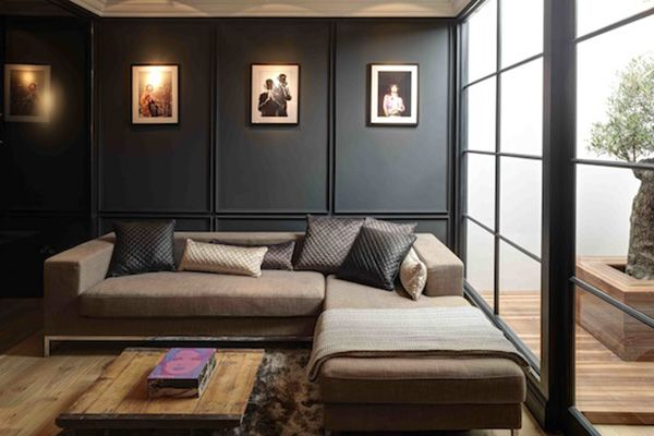 Case Study Packing A Punch Modern Wall Paneling Gray Interior Black Rooms