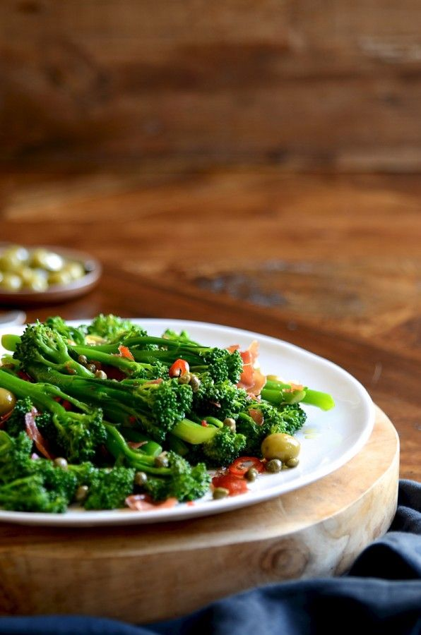 Broccolini with prosciutto, capers and olives