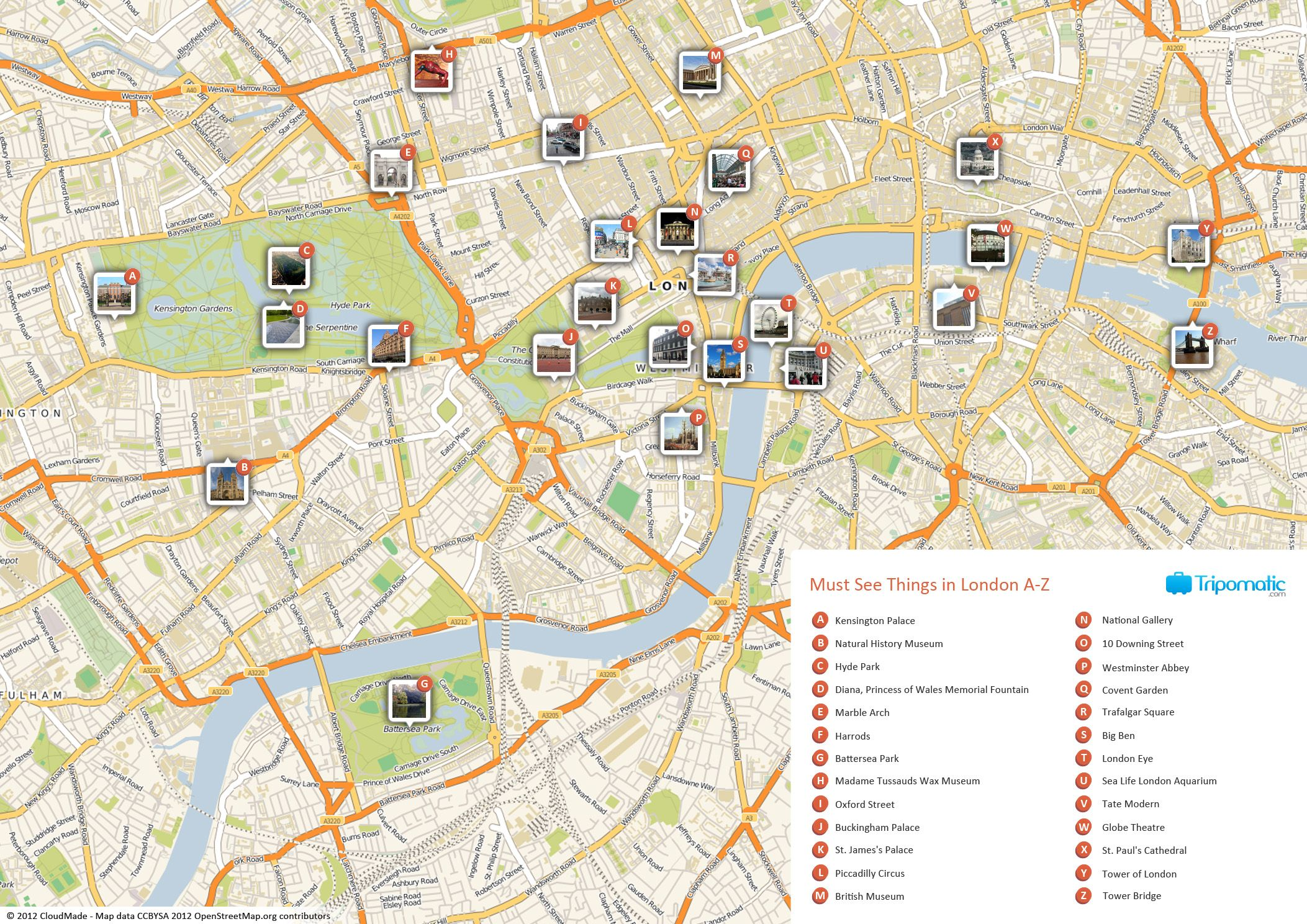 Map of London with must see sights and attractions Free printable