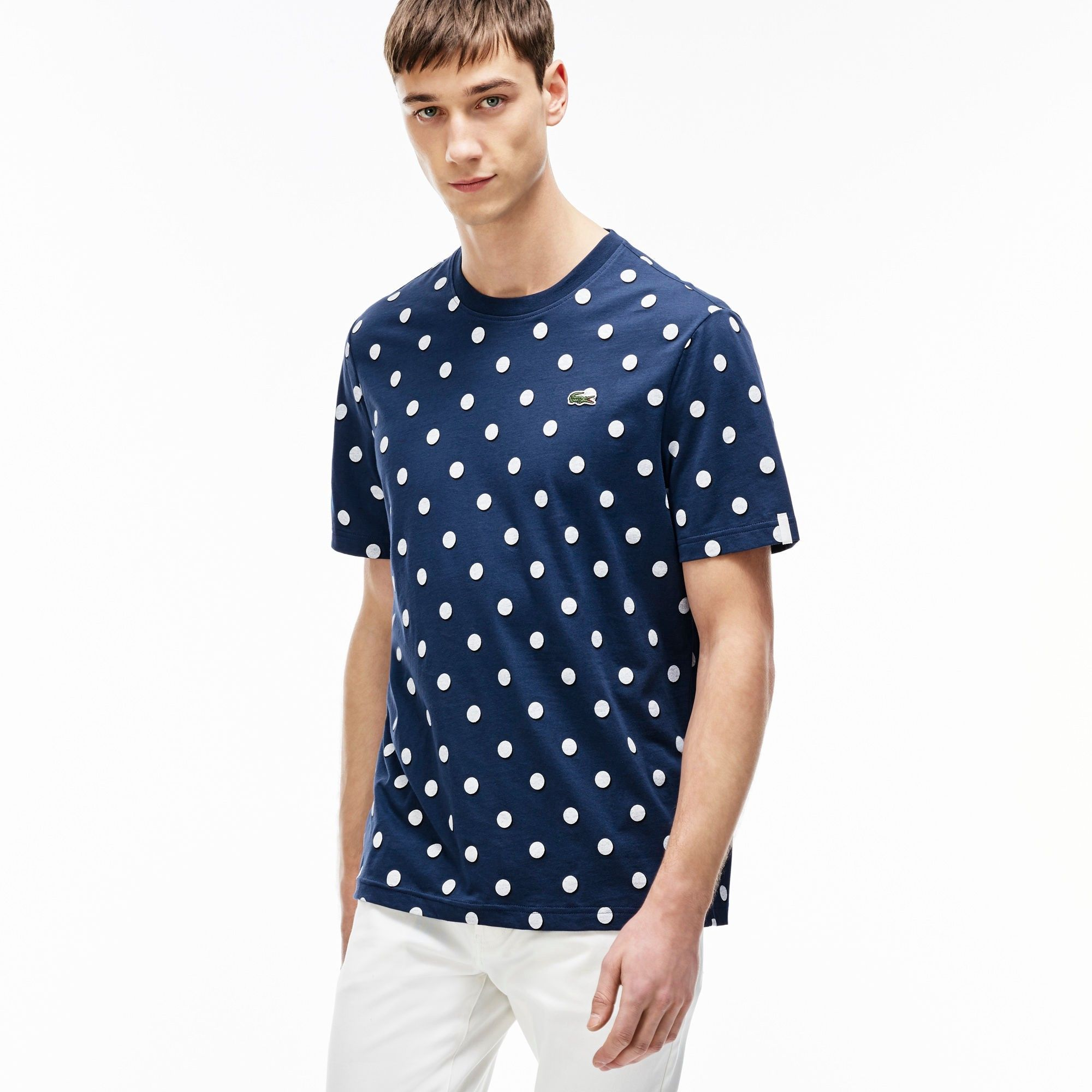 Lacoste Men S L Ve Crew Neck Polka Dot Jersey T Shirt Modesens