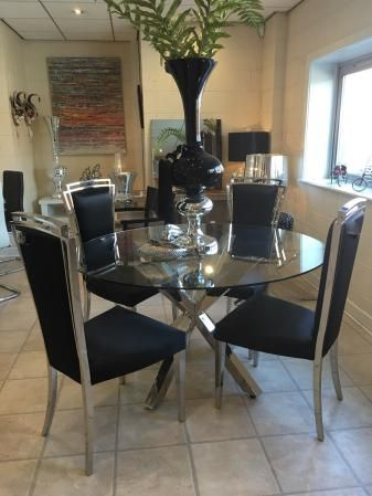 Glass Chrome Cross Leg Dining Table Set 4 Black Chairs