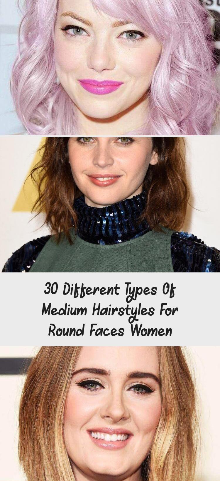 Mittlere Frisuren für runde Gesichter #HairstylesforroundfacesShoulderLength #Summer …