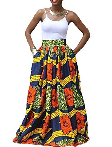 5369835f35 Voguegirl Women African Floral Printed Dashiki Casual Pleated A Line Maxi  Skirt