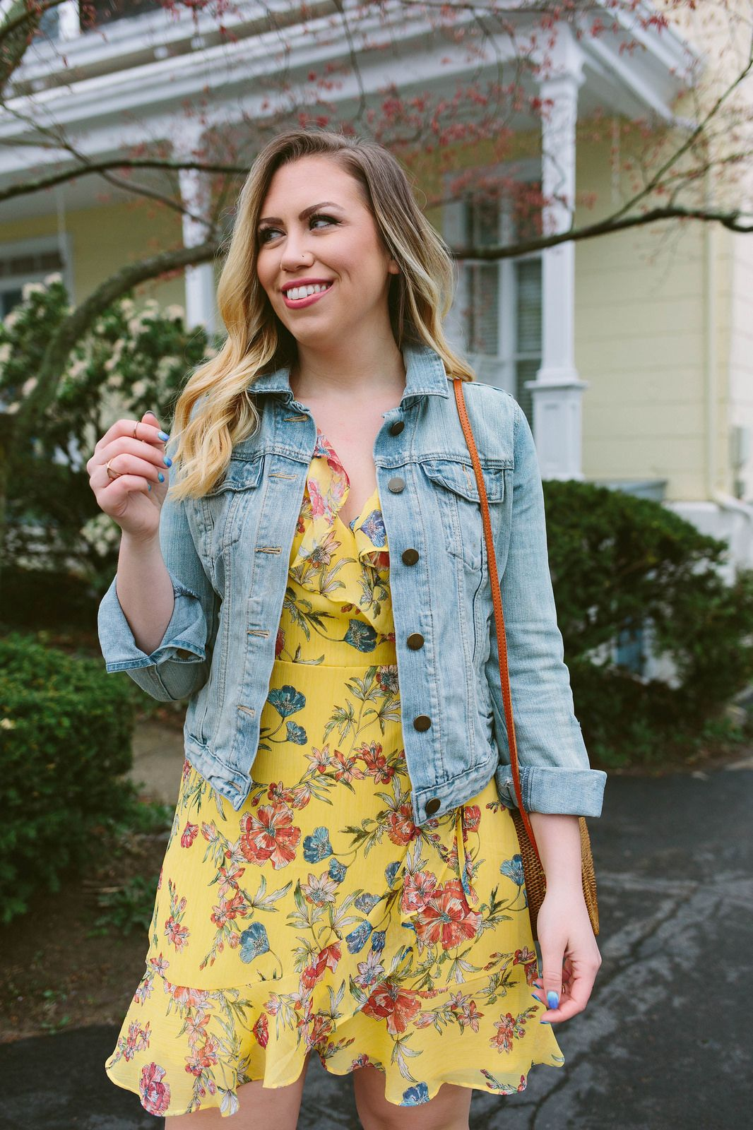 Why The Jean Jacket Is The Ultimate Summer Accessory Living After Midnite Jean Jacket Outfits Summer Yellow Jacket Outfit Dress With Jean Jacket [ 1600 x 1066 Pixel ]