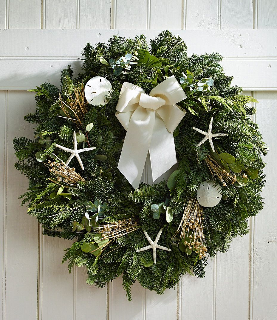 Coastal Evergreen Wreath 24 Beach Christmas Decorations Christmas Wreaths Beach Christmas Trees