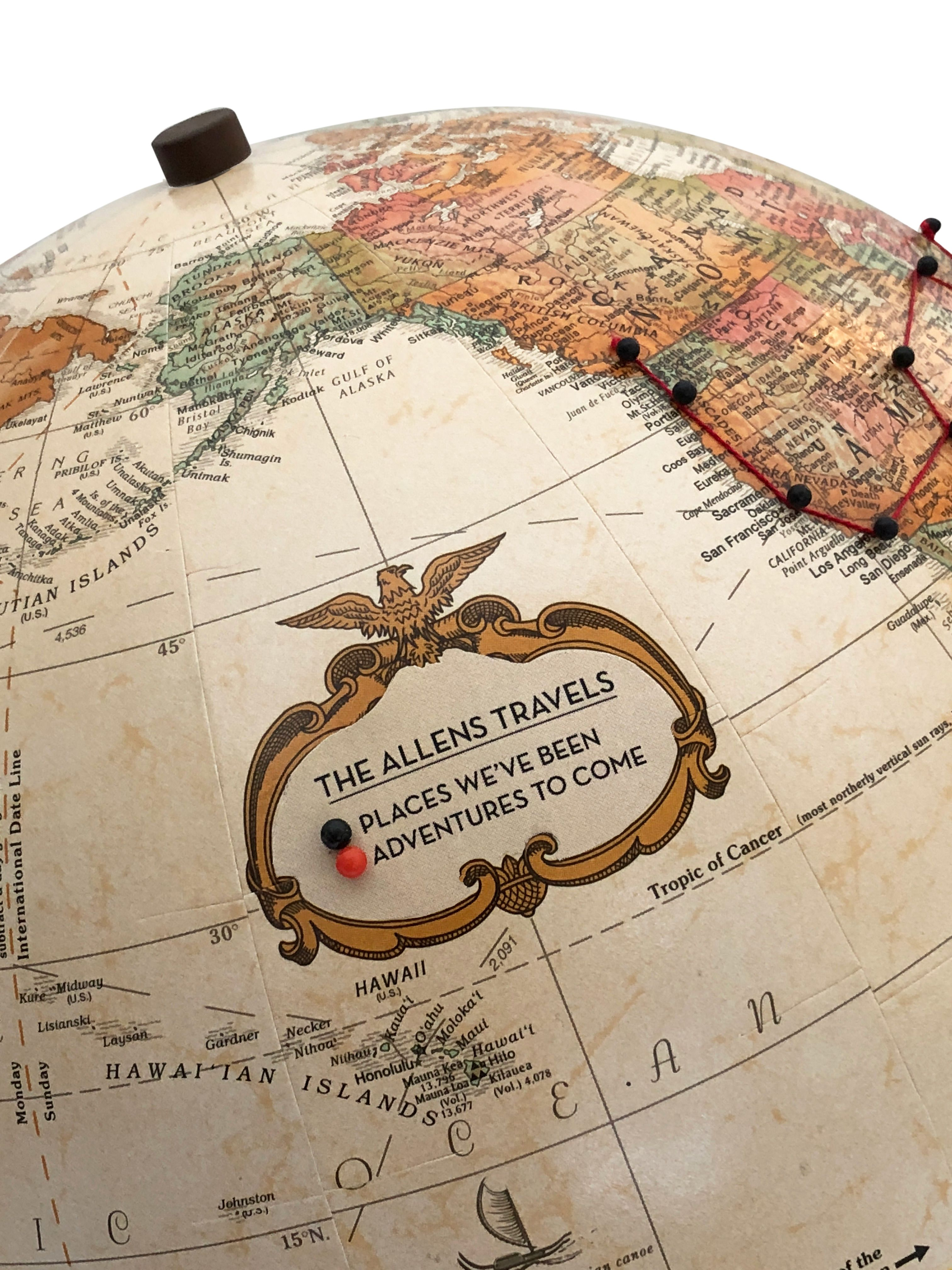 Push Pin Globe Personalized Antique in 2019 | Push Pin Globes ... Personalized Pin Your Journeys World Map on