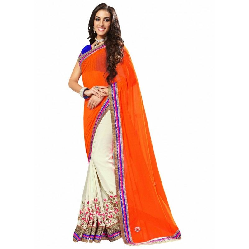 Wedding White Sarees Online: Designer Party Wear White,orange,Blue Saree-17001(ST-LAZZA