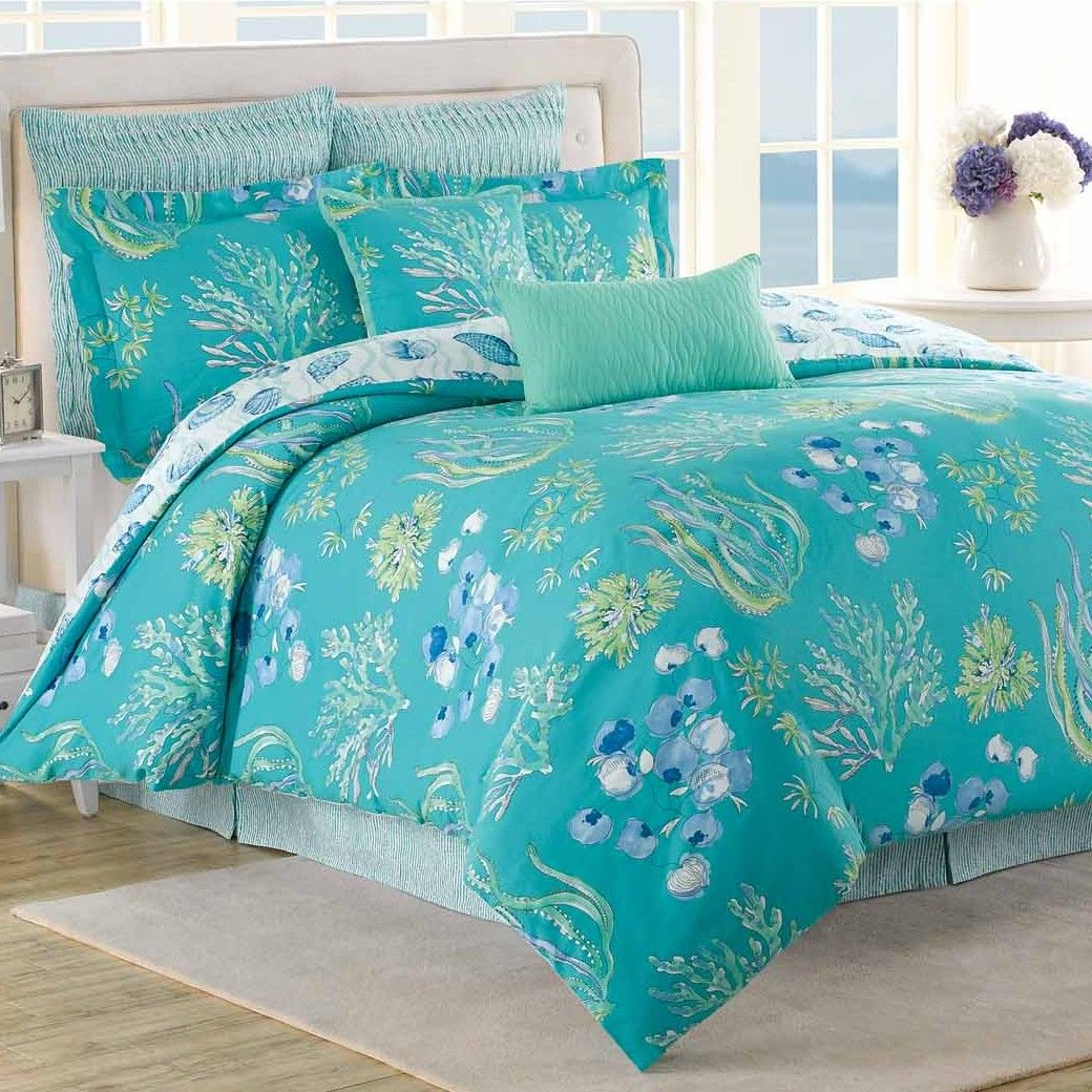 Bedding sets turquoise - Beachcomber 8 Piece Reversible Comforter Set