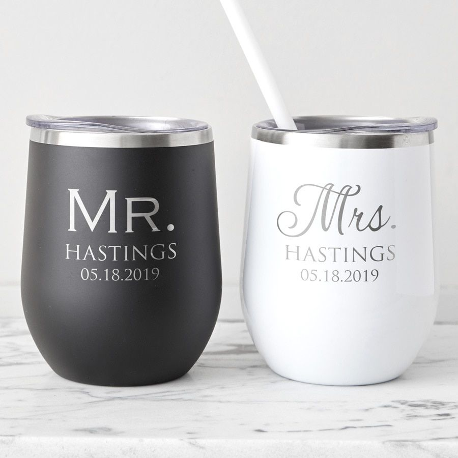 Bridal Party Custom Stainless Insulated Wine Tumbler with Lid PersonalizedMonogrammed