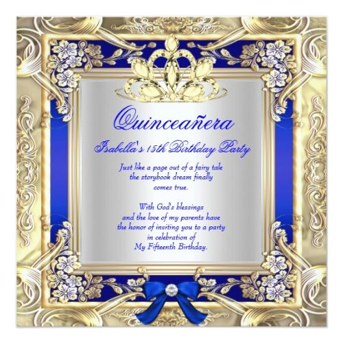 princess quinceanera gold royal blue silver 2 card - Royal Blue Quinceanera Invitations