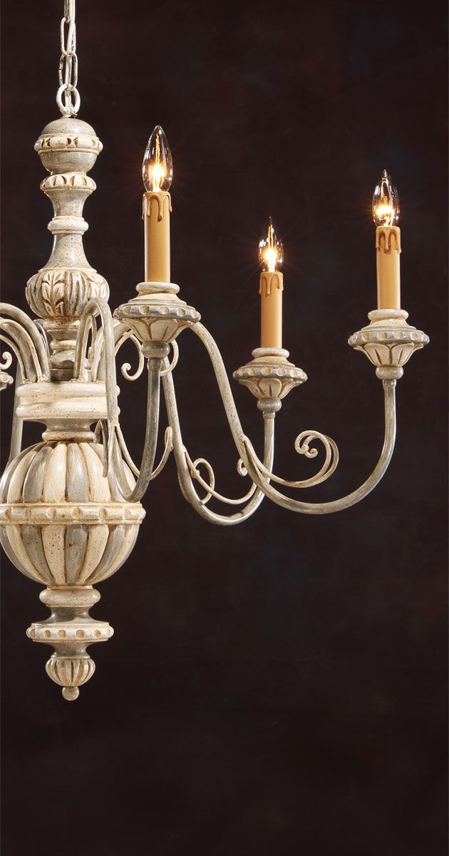 Carved Wood Chandelier With Wrought Iron Arms And Hand Painted
