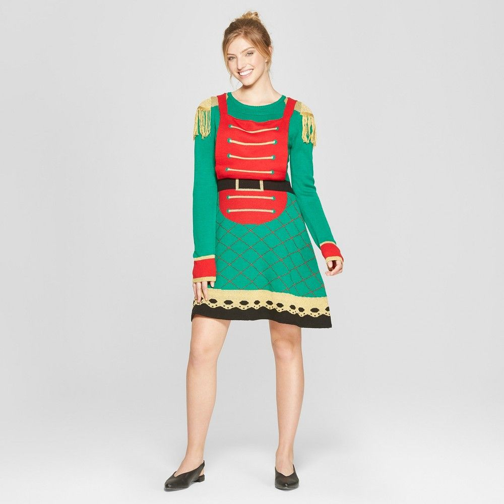 291bfc366ae Flaunt nutcracker-inspired style at your next holiday party with the Ugly  Christmas Toy Soldier Dress from Born Famous. This Christmas sweater dress  is ...