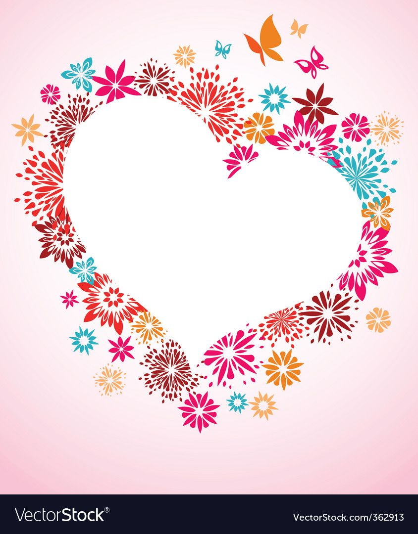 Heart flowers Royalty Free Vector Image VectorStock ,
