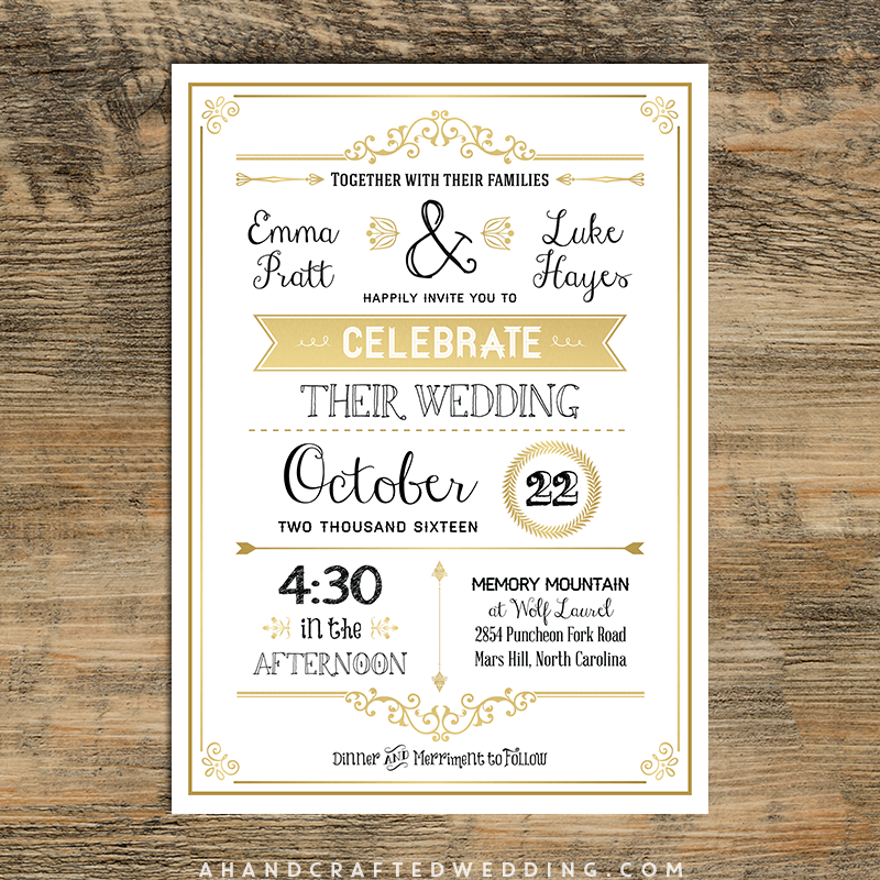Gold Diy Rustic Chic Wedding Invitation Template
