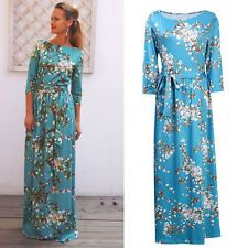 Elegant Women Floral Half Sleeve Tunic Long Maxi Cocktail Evening Party Dress