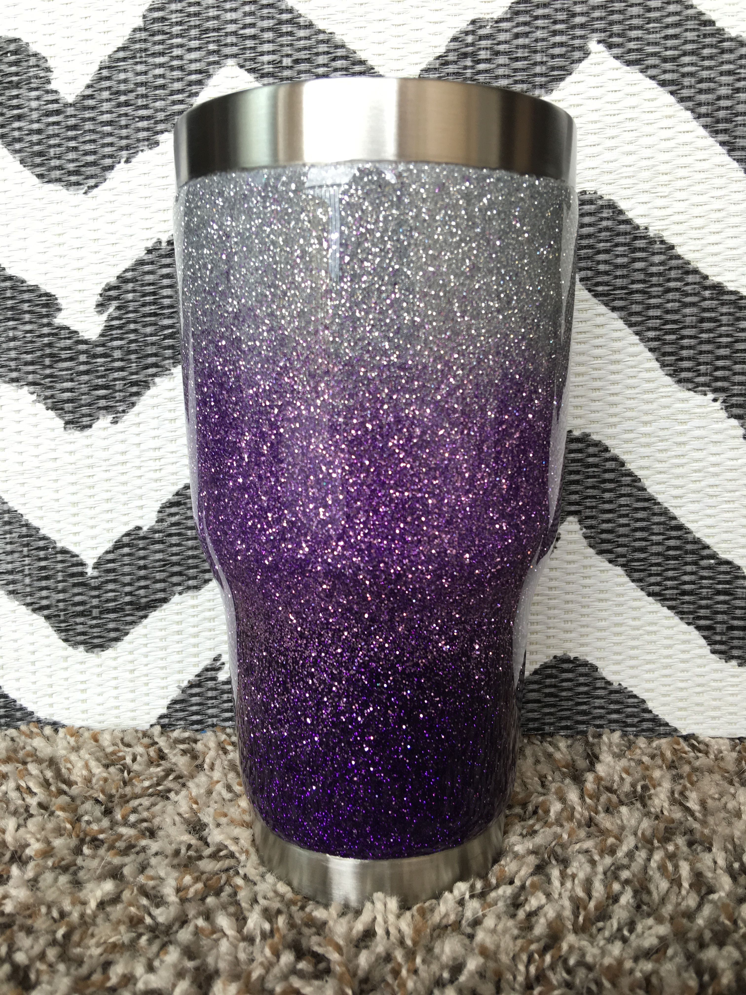 Silver Lavender And Plum 3 Color Ombre Glittered 30 Oz
