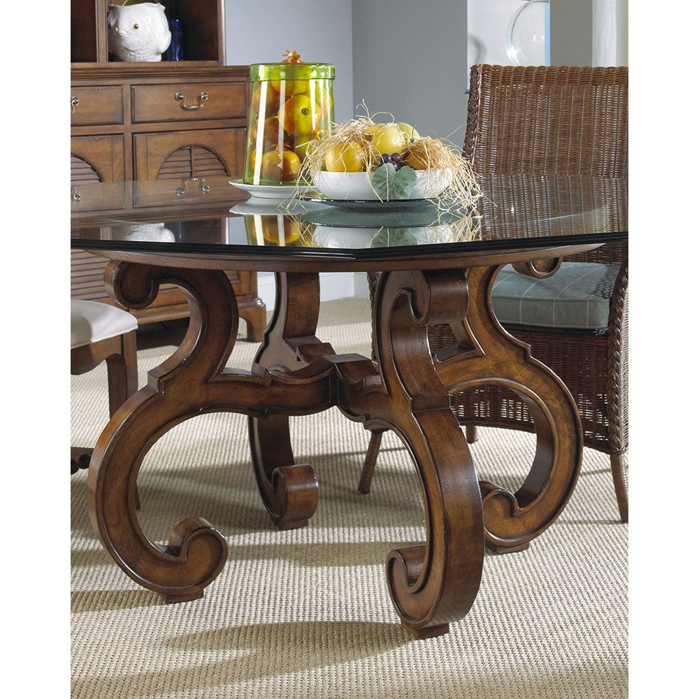 Fine Furniture Design Summer Home Octagon Glass Top Dining Table in