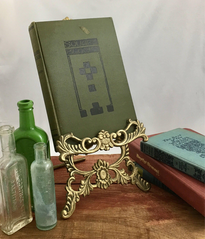 Vintage Brass Ornate Book Easel Cookbook Holder Brass Art Display