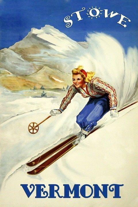 POSTER 1948 WINTER SPORT JACKSON HOLE WYOMING SKI COUPLE VINTAGE REPRO FREE S//H