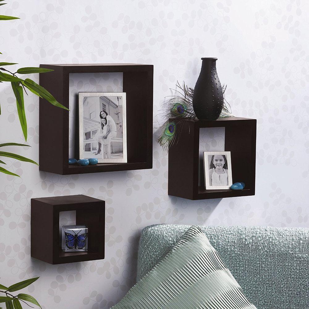 Wood Wall Mount 3 Shelf Storage Box Shelves Ledge Home Decor Floating Display Unbranded Square Shelf Wall Cubes Floating Shelves