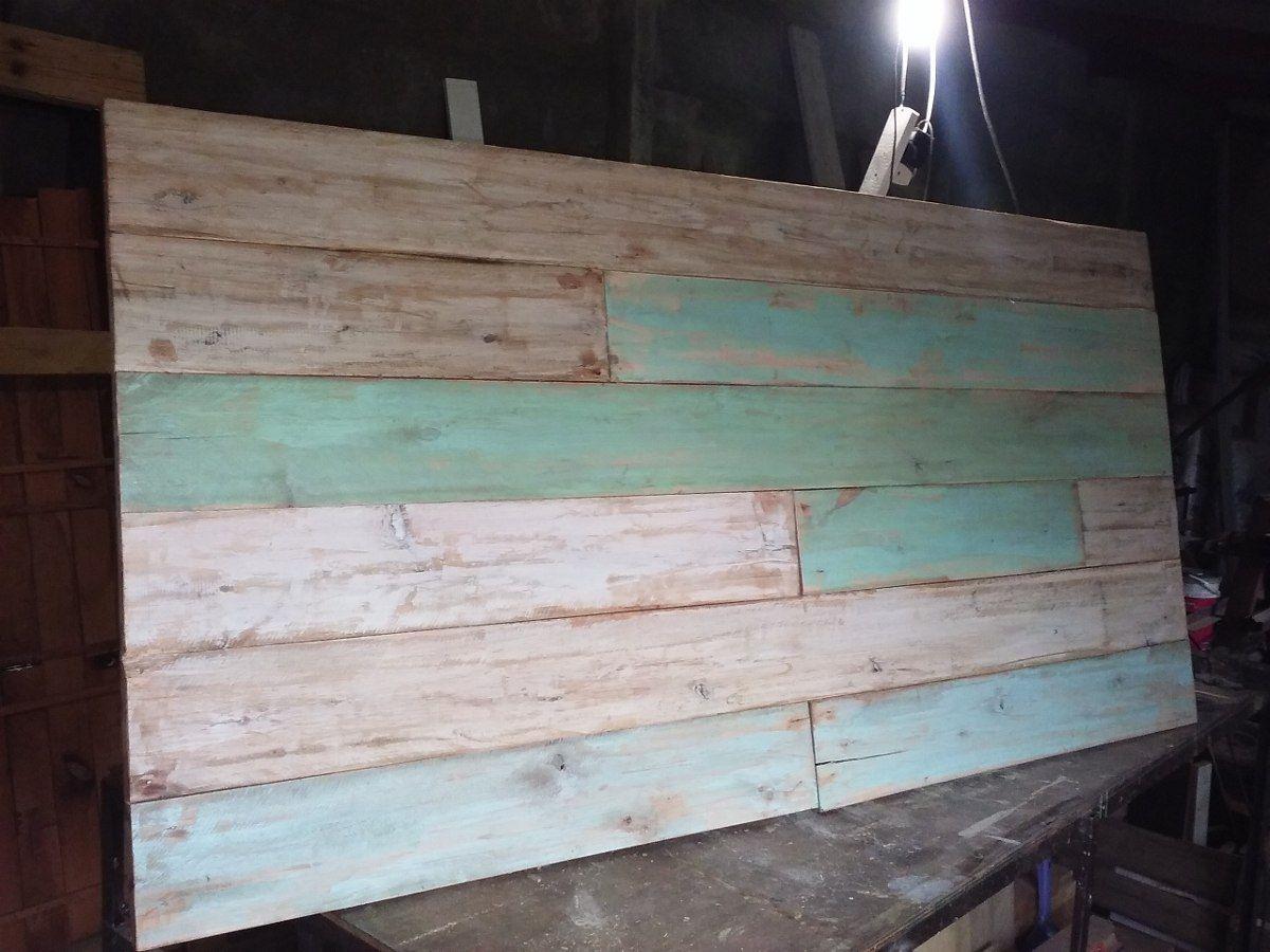 Respaldos de cama con madera reciclada pallets bedrooms - Cabecero madera reciclada ...