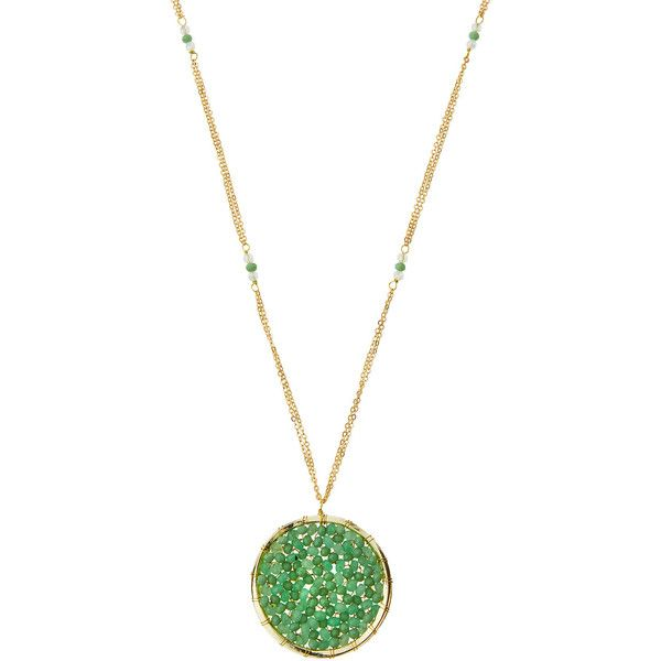 Panacea Long Beaded Crystal Circle Pendant Necklace (€26) ❤ liked on Polyvore featuring jewelry, necklaces, mint, bead necklace, long pendant necklace, beaded pendant necklace, crystal necklace and crystal pendant necklace