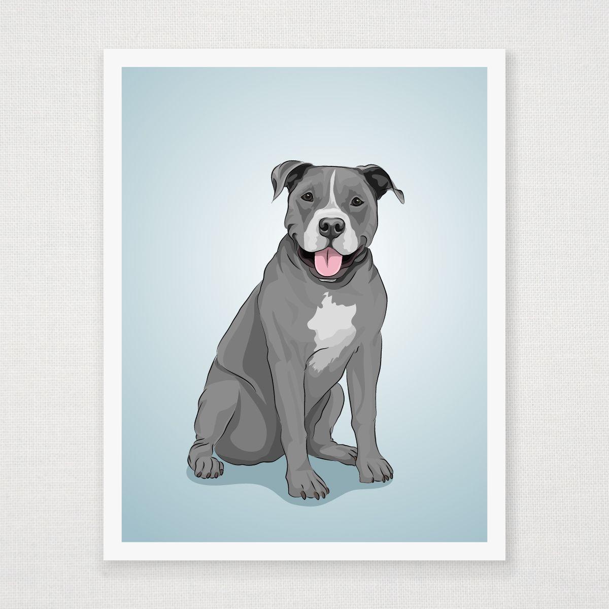 Picture It On Canvas Colorful Pitbull Graphic Art Pitbull Art