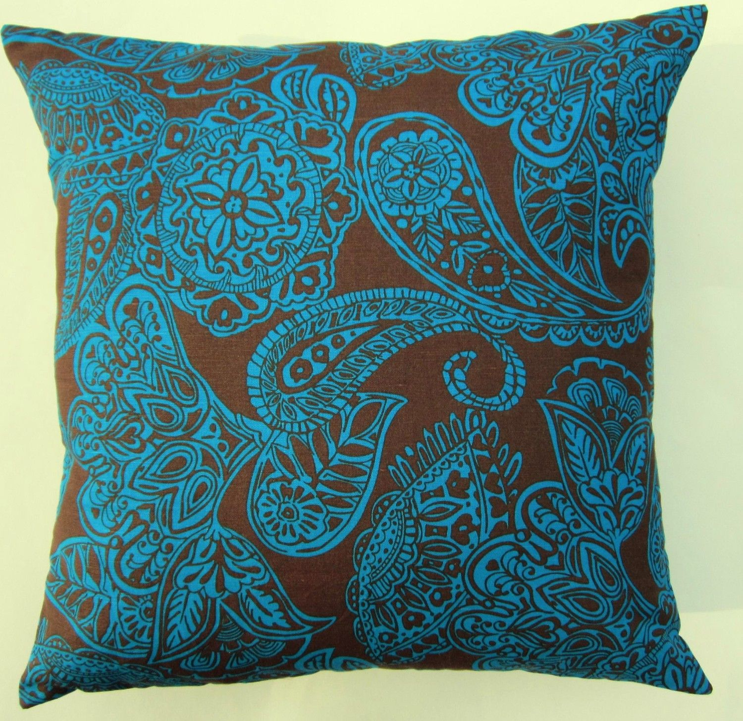 Brown and teal throw pillows - Chocolate Brown And Turquoise Blue Paisley Throw Pillow Cover 16 X 16