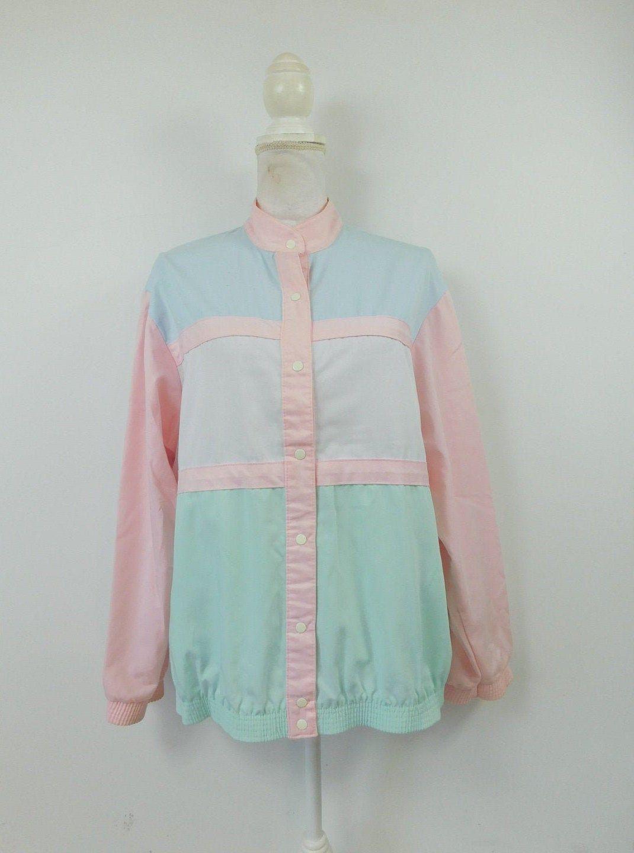 Vintage 80s Bedford Fair Pink Pastel Colorblock Snap Down Long Sleeve High Collar Oversized Jacket C