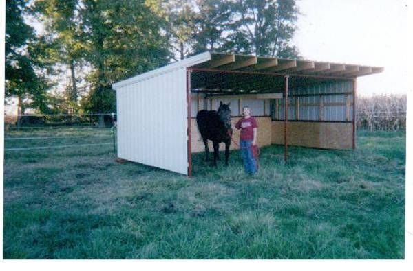 Portable barn open shelter frame 22 pole barn kit run in for Pole barn equipment shed