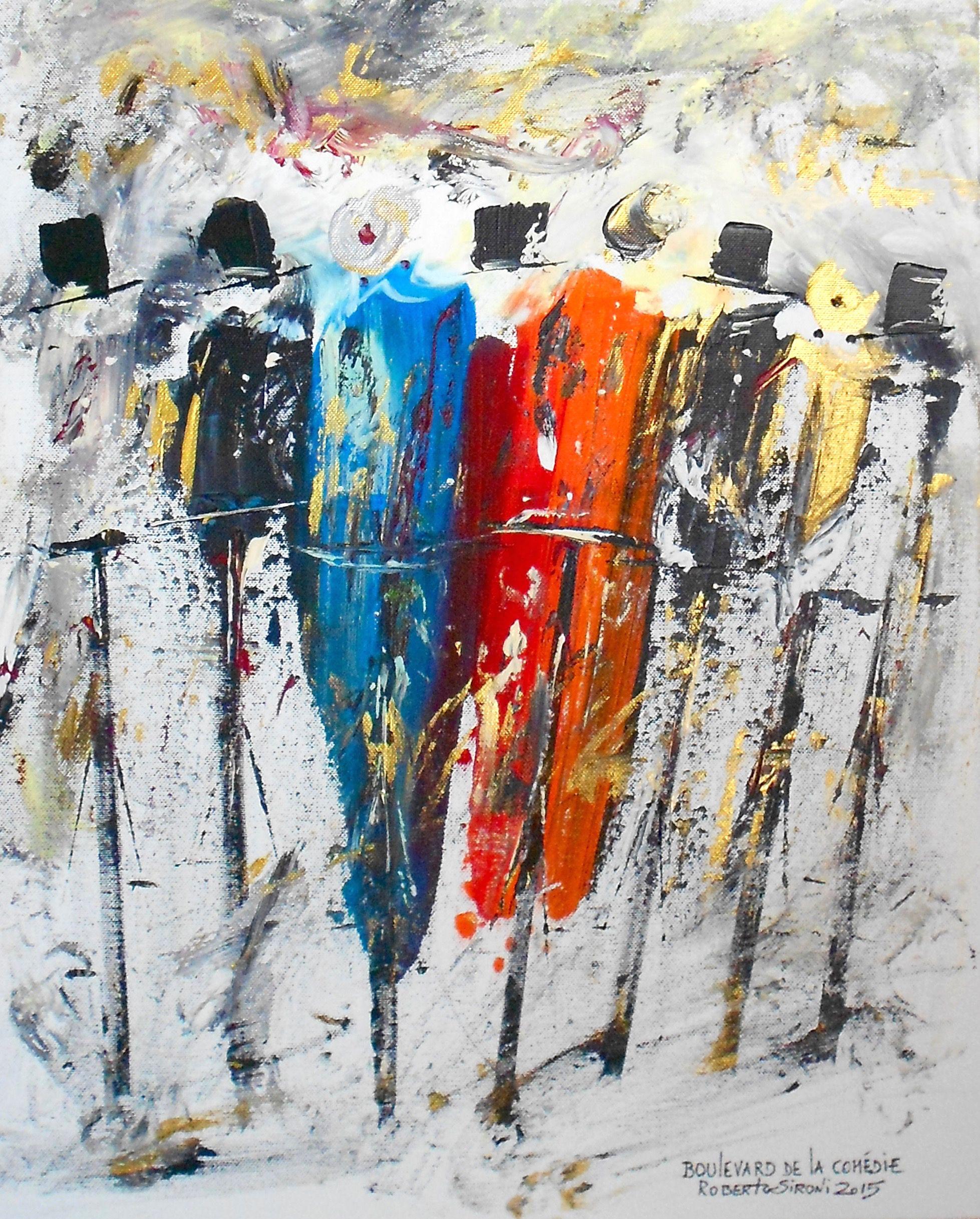 """""""BOULEVARD DE LA COMEDIE"""" -  opera di Roberto Sironi - acrilico su tela - 40 x 50"""