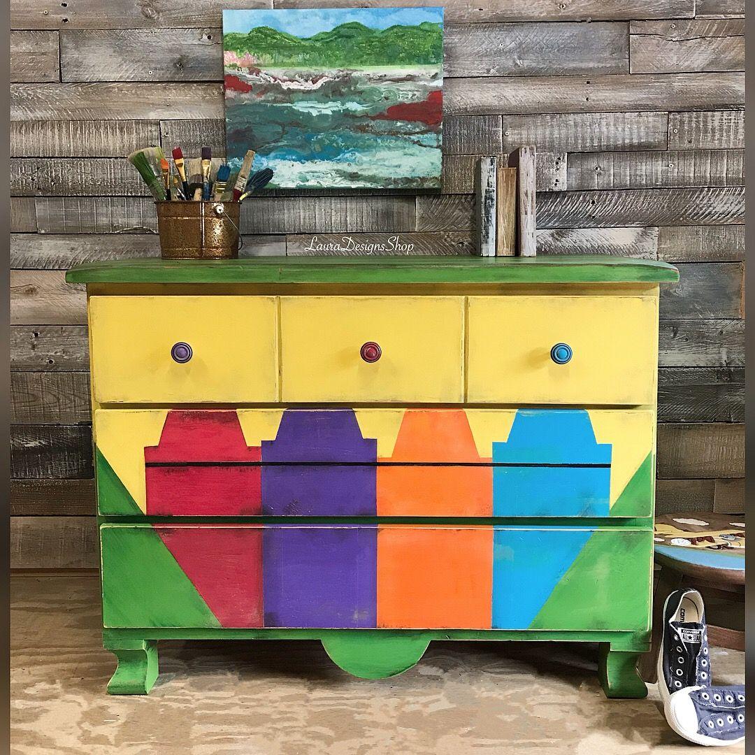 Vintage Farmtrucks: I Painted Red This Fun Dresser Into A Crayola Crayon Box