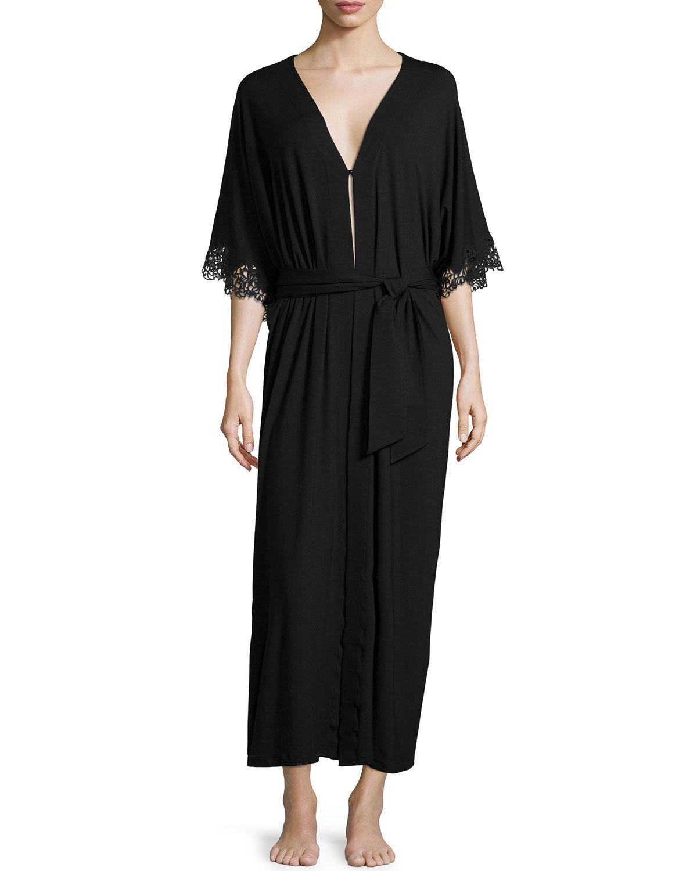 Petit Macrame Jersey Long Robe, Black, Women\'s, Size: LARGE/4 - La ...