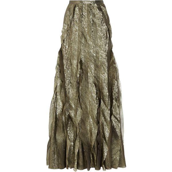 Oscar de la Renta Silk-blend lamé maxi skirt (£903) ❤ liked on Polyvore featuring skirts, etek, maxi skirts, gunmetal, long brown skirt, oscar de la renta, long pleated skirt and lame skirt