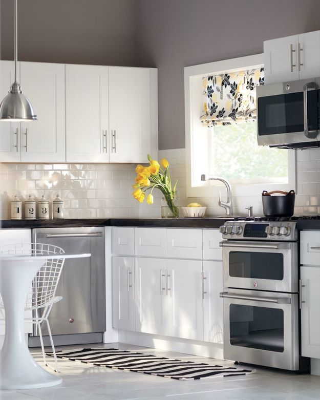 White kitchen cabinets in home pinterest blue yellow kitchens grey and gray subway tile backsplash also