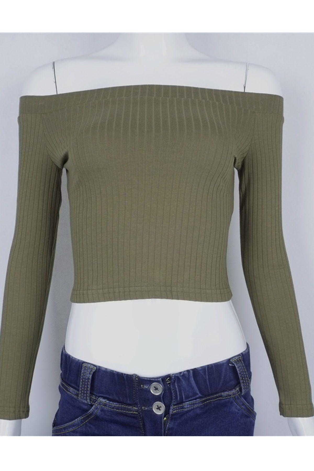 bae4b8b6 Long Sleeves Off Shoulder Pure Color Crop Top   Tank Tops & Vests ...