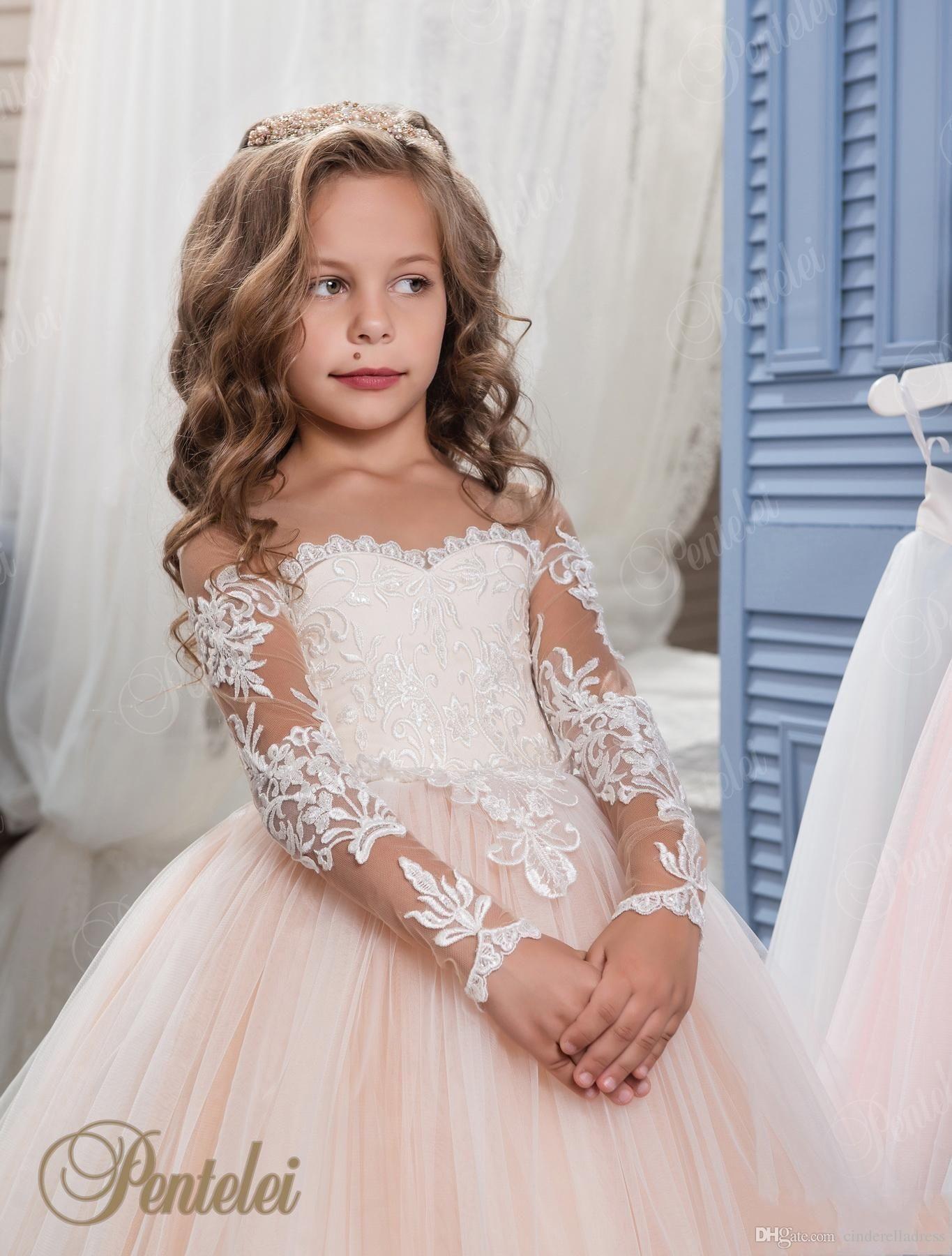 7b291e26077 Kids Flower Girls Dresses for Weddings 2017 Pentelei with Illusion Long  Sleeves Tulle Blush Little Girls Gowns Arabic Kids Pageant Dress mz