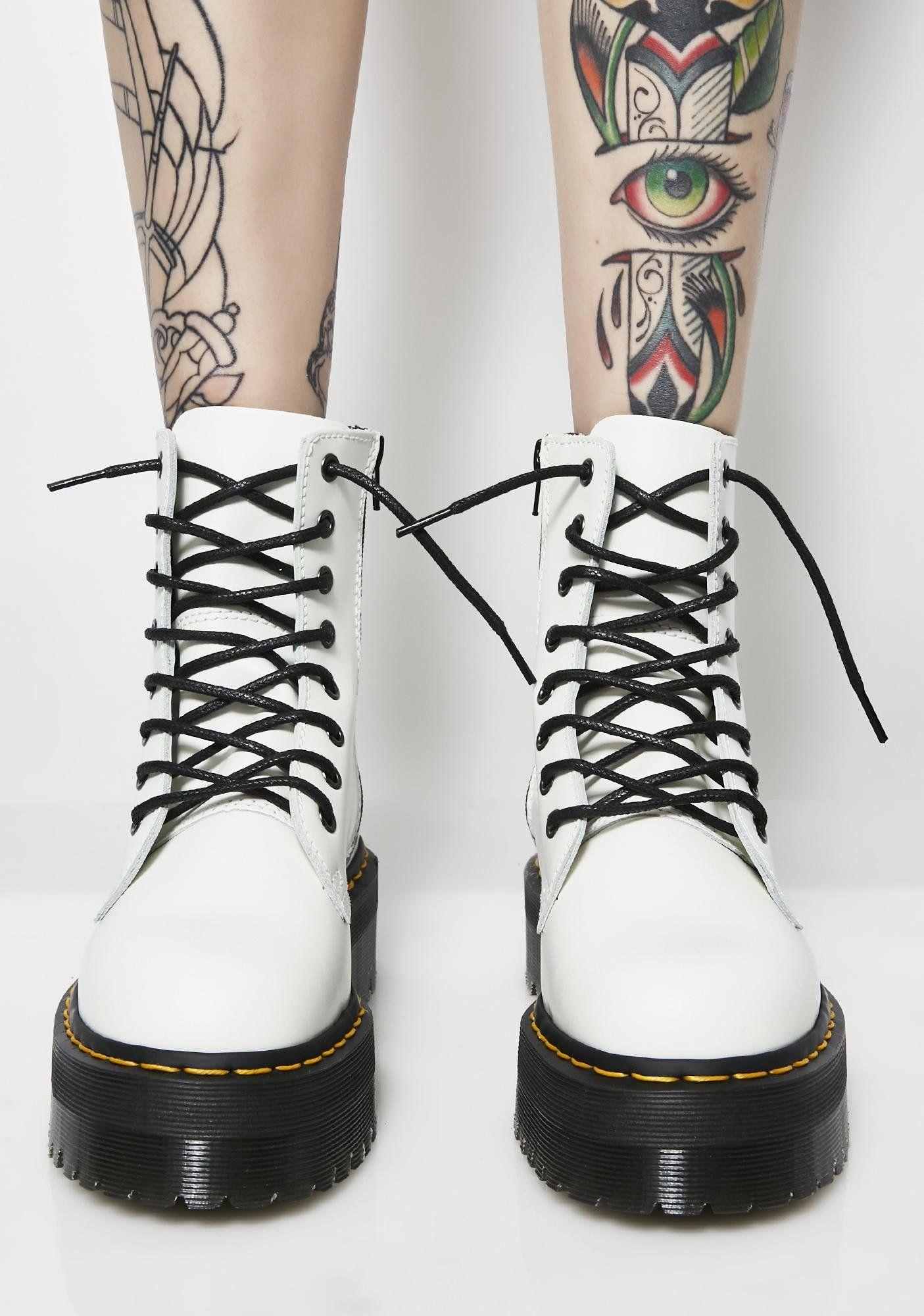 White Jadon 8 Eye Boots   Boots, White